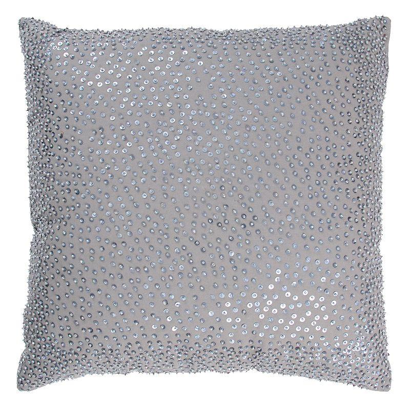 Beaded Grey Throw Pillow : Rizzy Home Solid Beaded Throw Pillow, Grey - Sonja Morgan