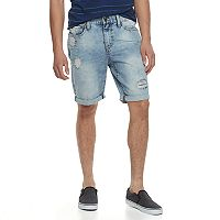 Men's Lazer Destructed Stretch Denim Roll Cuff Shorts