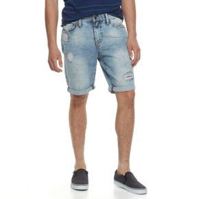Men's Lazer Destructed Stretch Denim Roll Cuff Shorts