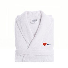 "Linum Home Textiles ""I Love You"" Embroidered Cotton Terry Bathrobe"