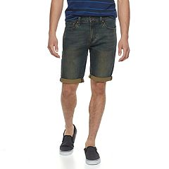 Men's Lazer Green Tint Stretch Denim Roll Cuff Shorts