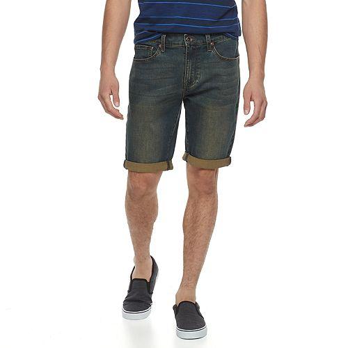 Men's Lazer Green Tint Stretch Denim Roll Cuff Shorts