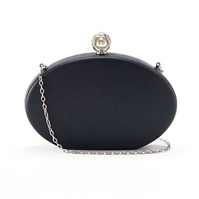 Lenore by La Regale Rhinestone & Simulated Pearl Rounded Miniaudiere