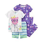 Baby Girl Carter's 4 pc Bear Scientist Pajamas Set