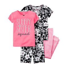 Baby Girl Carter's 4-pc. 'Sleepy Sister Squad' Floral Pajamas Set