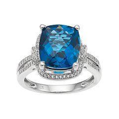 Sterling Silver London Blue Topaz & Lab-Created White Sapphire Halo Ring
