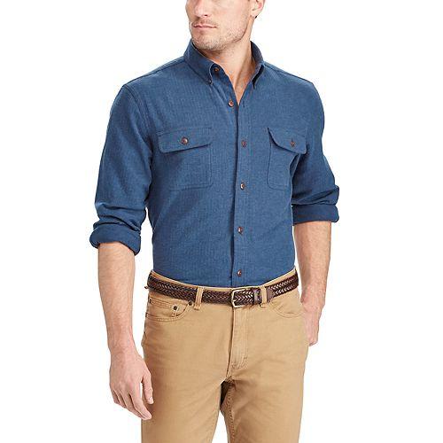 Big & Tall Chaps Classic-Fit Herringbone Button-Down Work Shirt