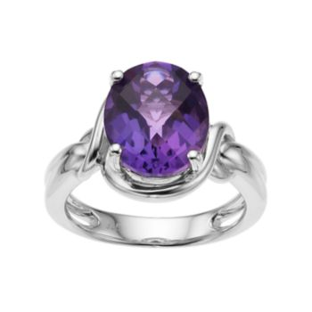 Sterling Silver Amethyst Oval Ring
