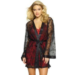 Women's Jezebel Tama Lace Satin Kimono Robe