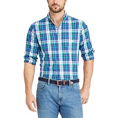 Big & Tall Chaps Classic-Fit Gingham Easy-Care Button-Down Shirt
