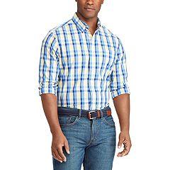 Big & Tall Chaps Classic-Fit Plaid Stretch Poplin Button-Down Shirt
