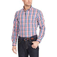 Big & Tall Chaps Classic-Fit Plaid Stretch Poplin Button-Down Shirt