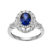 Sterling Silver Lab-Created Blue & White Sapphire Oval Halo Ring