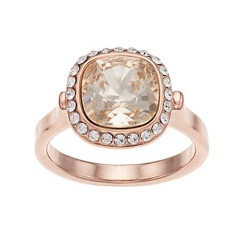 Brilliance 14 Rose Gold Plated Halo Ring with Swarovski Crystals