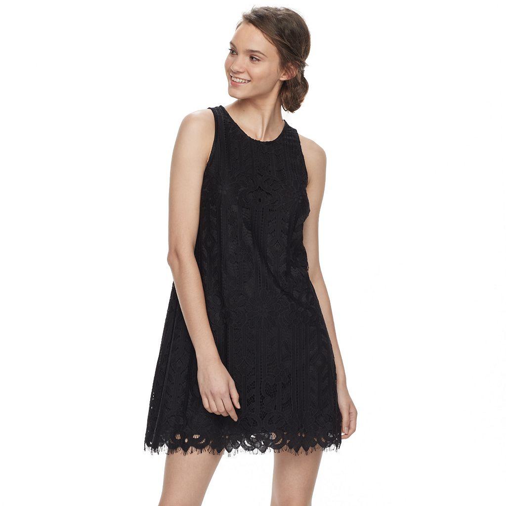 Juniors' Speechless Eyelash Hem Lace Shift Dress