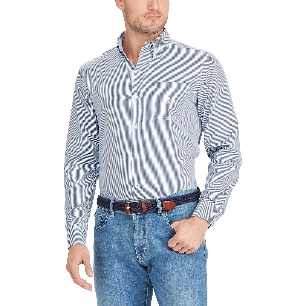 Big & Tall Chaps Classic-Fit Striped Button-Down Shirt