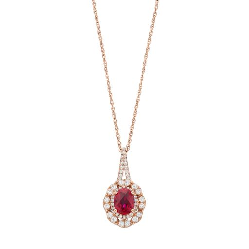 14k Rose Gold Over Silver Lab-Created Ruby & Lab-Created White Sapphire Oval Pendant