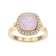 Brilliance 14k Gold Plated Halo Ring with Swarovski Crystals