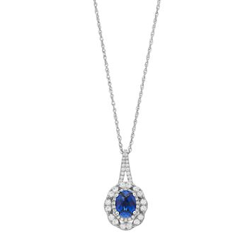Sterling Silver Lab-Created Blue & Lab-Created White Sapphire Oval Pendant