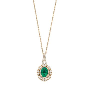 14k Gold Over Silver Lab-Created Emerald & Lab-Created White Sapphire Oval Pendant