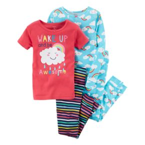 "Girls 4-12 Carter's  4-pc.""Wake Up Awesome"" Graphic Pajama Set"