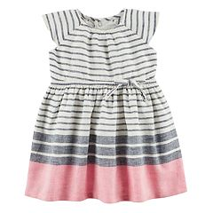 Baby Girl Carter's Striped Linen-Blend Dress