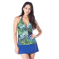 Women's Chaps Bust Enhancer Palm Leaf Halterkini Top