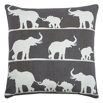 Rizzy Home Elephants Printed Embroidered Throw Pillow