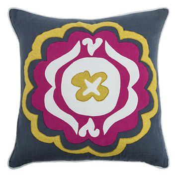 Laura Fair By Rizzy Home Floral Applique Embroidered Throw Pillow