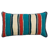 Laura Fair By Rizzy Home Stripe Printed Embroidered Oblong Throw Pillow