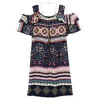 Girls 7-16 Speechless Printed Chiffon Cold Shoulder Dress with Necklace