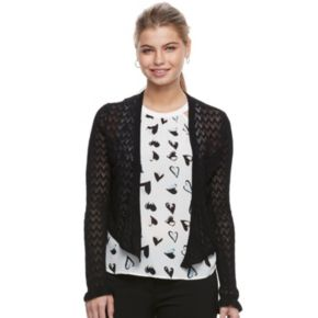 Juniors' Candie's® Pointelle Cropped Wrap Cardigan