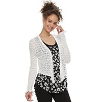 Juniors' Candies® Pointelle Cropped Wrap Cardigan