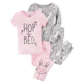 """Toddler Girl Carter's 4-pc.""""Hop To Bed"""" Bunnies Pajamas Set"""