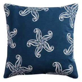 Rizzy Home Navy Starfish Embroidered Throw Pillow
