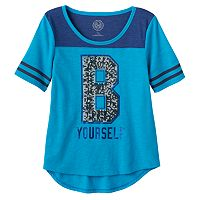 Girls Plus Size SO® Sequin Graphic Varsity Tee