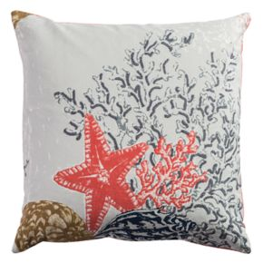 Rizzy Home Starfish & Coral Printed Embroidered Throw Pillow