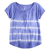 Girls 7-16 Mudd® Lace-Up Raglan Tie-Dye Tee