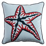 Rizzy Home Gray Starfish Embroidered Throw Pillow