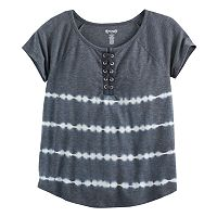 Girls Plus Size Mudd® Lace-Up Raglan Tie-Dye Tee