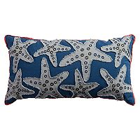 Rizzy Home Starfish with Brads Applique Beaded Oblong Throw Pillow