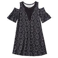 Girls 7-16 Mudd® Patterned Cold Shoulder Dress