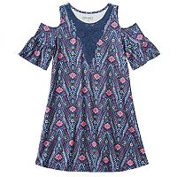 Girls Plus Size Mudd® Patterned Cold Shoulder Dress