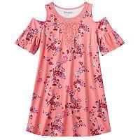 Girls Plus Size Mudd® Patterned Cold Shoulder Dress