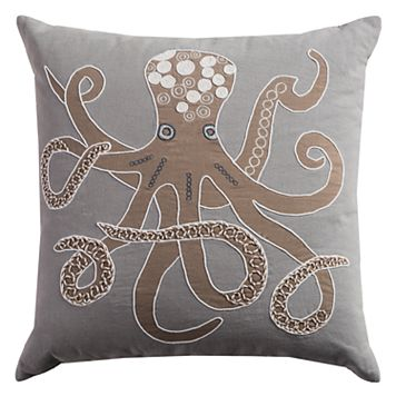 Rizzy Home Octopus Applique Embroidered Beaded Throw Pillow
