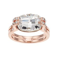 Brilliance 14k Rose Gold Plated Ring with Swarovski Crystals