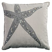 Rizzy Home Starfish Applique Embroidered Beaded Throw Pillow
