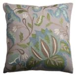 Rizzy Home Floral Botanical Embroidered Throw Pillow