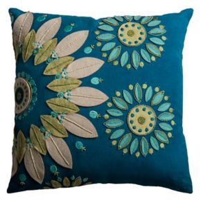Rizzy Home Floral Embroidered Throw Pillow