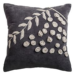 Rizzy Home Floral & Vine Twist Ruched Throw Pillow